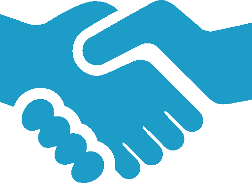 blue handshake outline